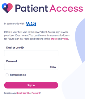 Image of the Patient Access sign in screen